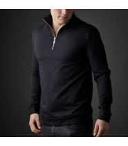 Amov Slub Zip Neck Black