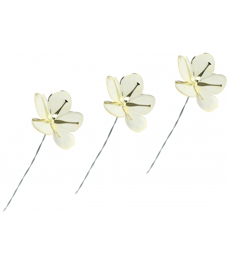 Blomster i hvid og guld, små