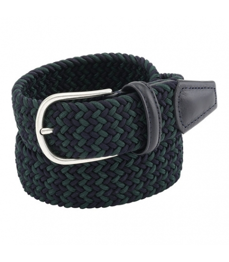 Anderson's farvet sort flettet bælte i blå/grøn