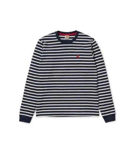 Carhartt L/S robie stripe t-shirt navy / snow