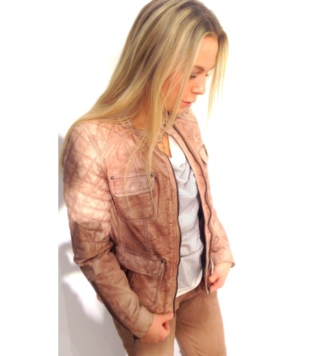 Garment dyed leather jacket