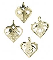 Miniatur Hjerter, guld 4 stk.