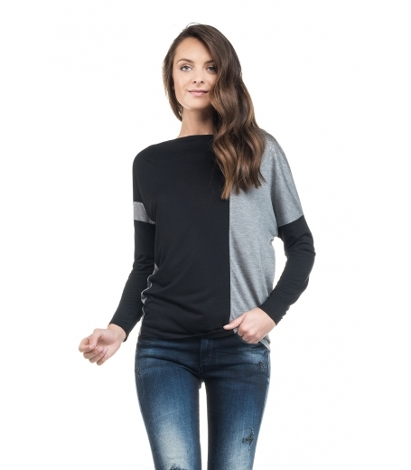 Sort og grå jersey bluse fra Salsa - 114523-3098