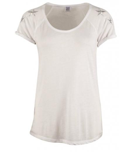 t-shirt m. stjerner på skulder