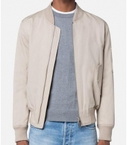 ZIPPED BOMBER JACKET - BEIGE